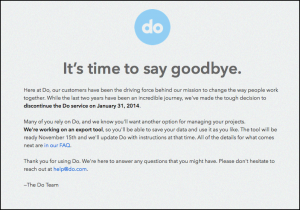 Do.com's closing announcement